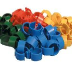 Inele plastic pasari curte - 16 mm yellow - 20 buc